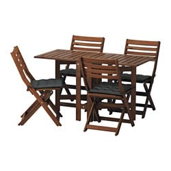 ÄPPLARÖ table and 4 folding chairs, outdoor, brown stained, Hållö black