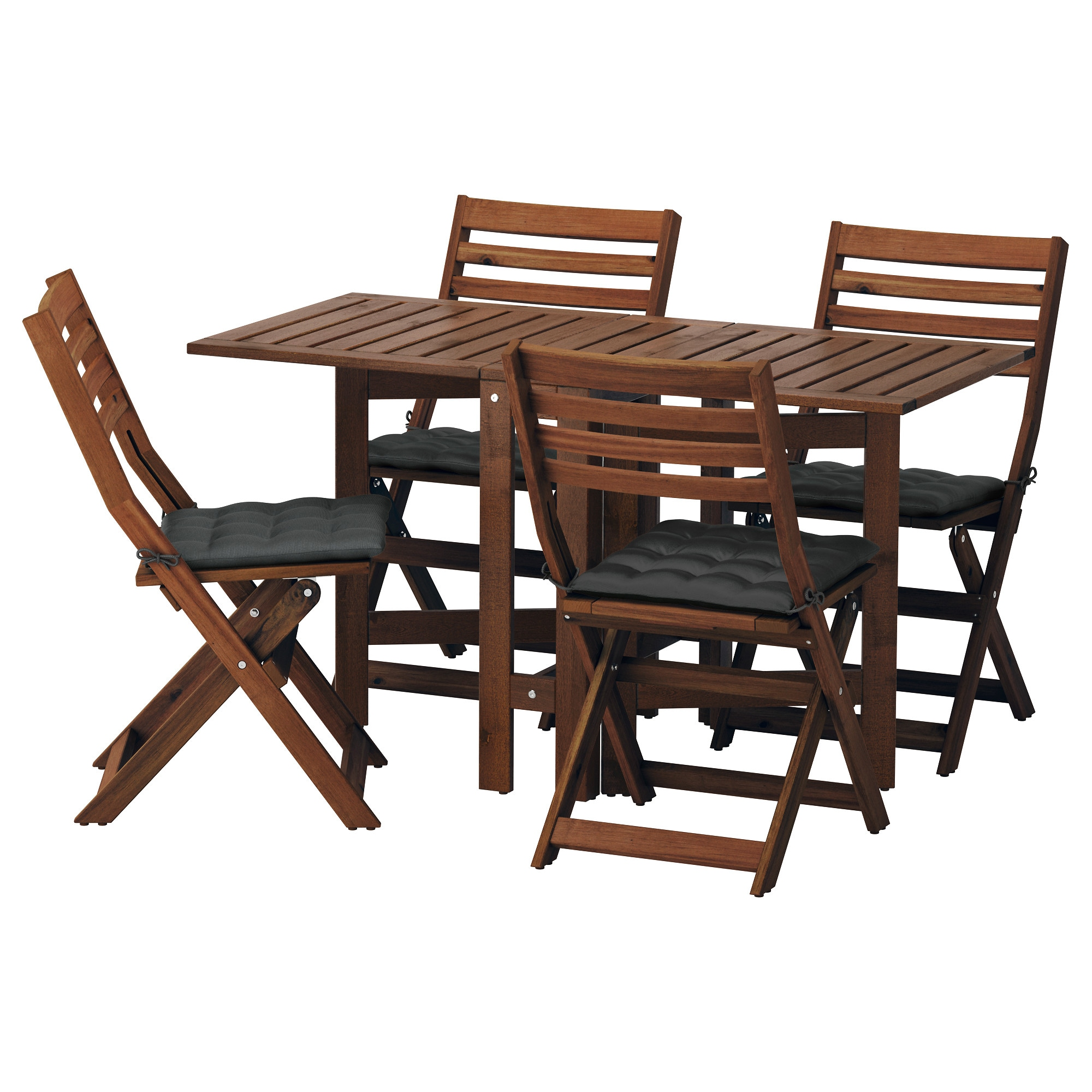 ÄPPLARÖ Table and 4 folding chairs, outdoor - Äpplarö brown stained ...