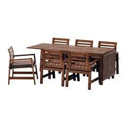 ÄPPLARÖ table+6 chairs w armrests, outdoor, Ekerön black, brown stained