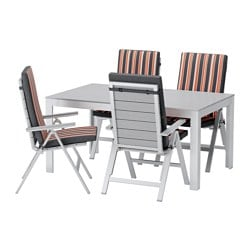 FALSTER table + 4 reclining chairs, outdoor, Ekerön black, gray