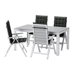 FALSTER table+4 reclining chairs, outdoor, Hållö black, grey