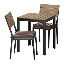 FALSTER table+2 chairs, outdoor, Ekerön black, black-brown