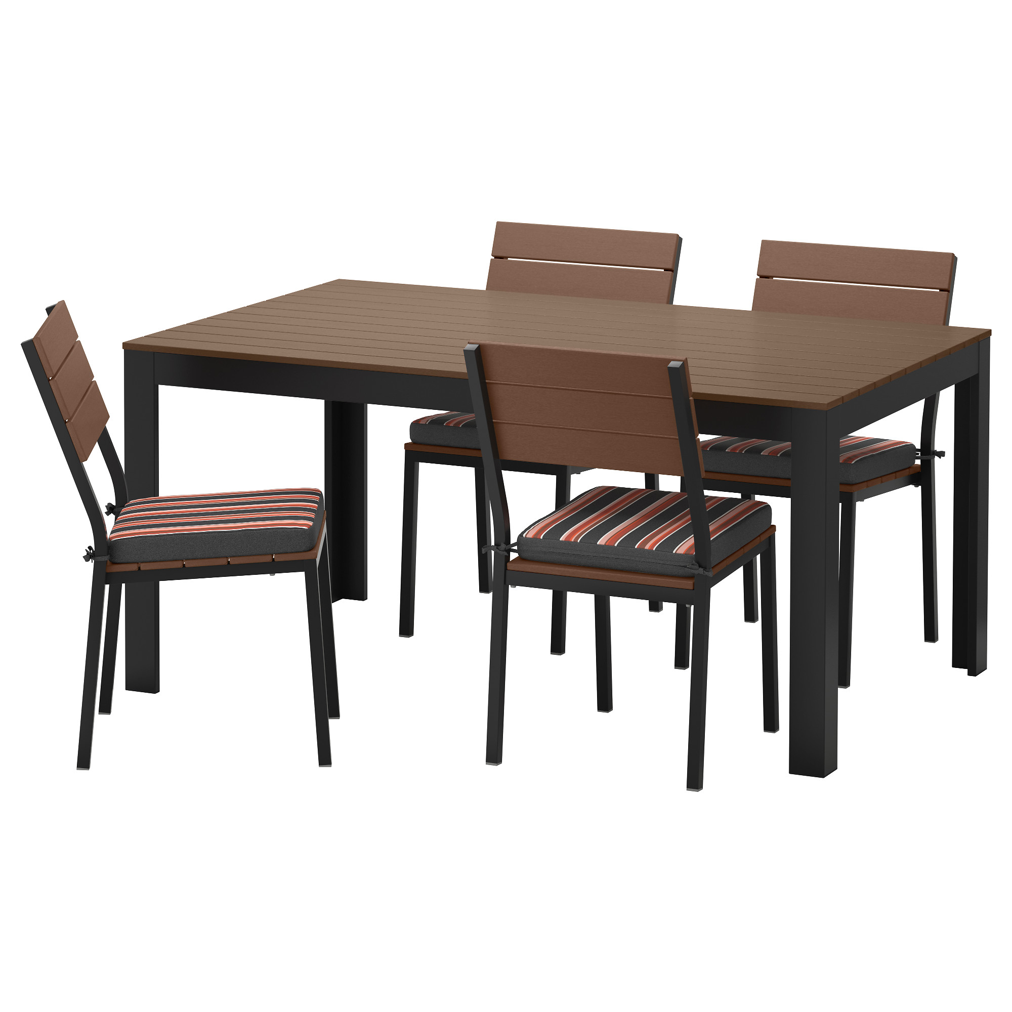 Outdoor wood dining table - Falster Table And 4 Chairs Outdoor Black Brown Eker N Black
