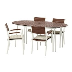 VINDALSÖ table and 4 chairs with armrests, Hållö beige, white/brown