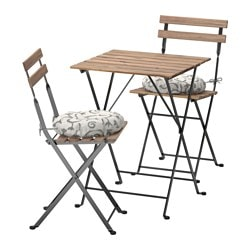 TÄRNÖ table+2 chairs, outdoor, black-brown stained gray-brown, Stegön beige