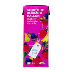 SMOOTHIE BLÅBÄR & HALLON blueberry- and raspberry smoothie Volume: 7 oz Volume: 200 ml
