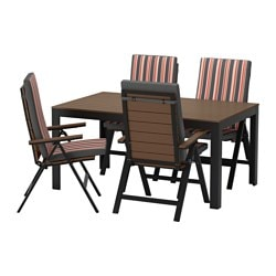 FALSTER table+4 reclining chairs, outdoor, black, Ekerön black