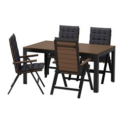 FALSTER table + 4 reclining chairs, outdoor, black, Hållö black