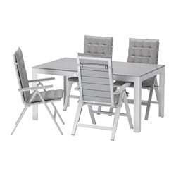 FALSTER table+4 reclining chairs, outdoor, Hållö grey, grey