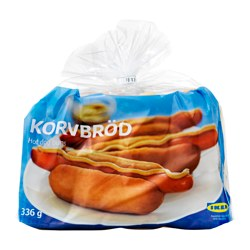 KORVBRÖD hot dog bread, frozen Net weight: 336 g Package quantity: 8 pieces
