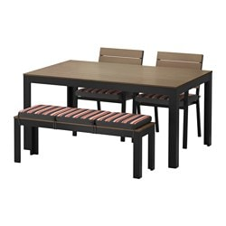 FALSTER table+2 chairs+ bench, outdoor, Ekerön black, black-brown