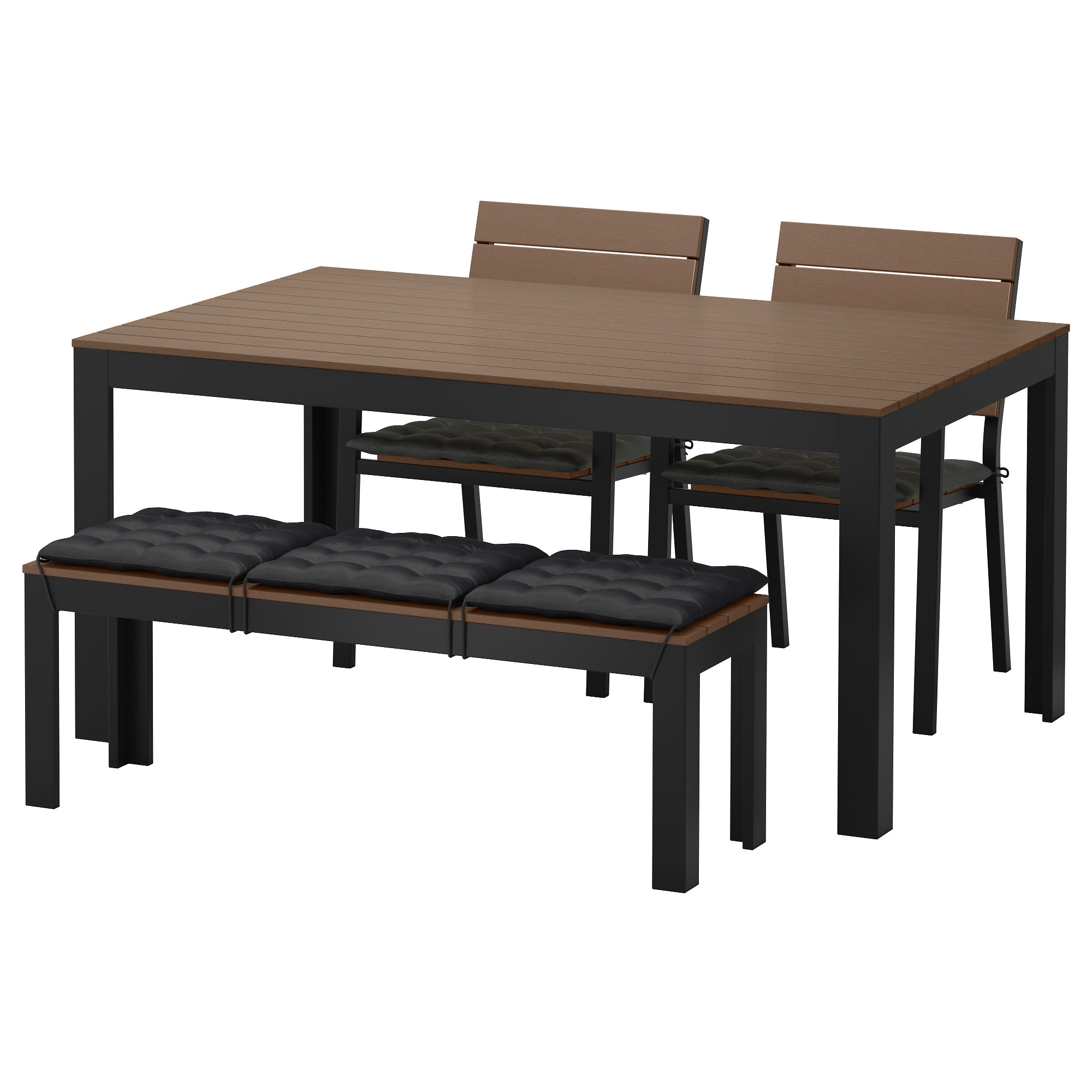 FALSTER Table 2 chairs and bench outdoor Falster black brown