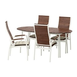 VINDALSÖ table+4 reclining chairs, outdoor, Hållö beige, white/brown