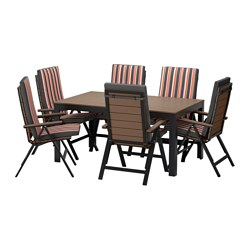 FALSTER table+6 reclining chairs, outdoor, black, Ekerön black