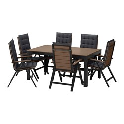 FALSTER table+6 reclining chairs, outdoor, Hållö black, black