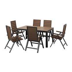 FALSTER table+6 reclining chairs, outdoor, brown, black