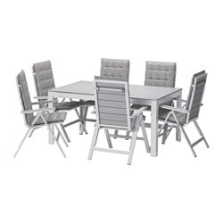 FALSTER table+6 reclining chairs, outdoor, Hållö grey, grey