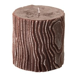"KVISTAR scented block candle, Warm wood brown, brown Diameter: 4 "" Height: 4 "" Burning time: 35 hr Diameter: 10 cm Height: 10 cm Burning time: 35 hr"