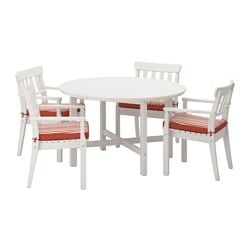 ÄNGSÖ table+4 chairs w armrests, outdoor, Tåsinge red, white stained