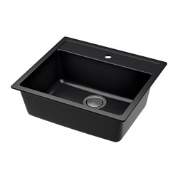 HÄLLVIKEN sink, black, quartz composite