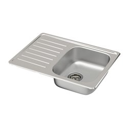 FYNDIG single bowl top mount sink, stainless steel