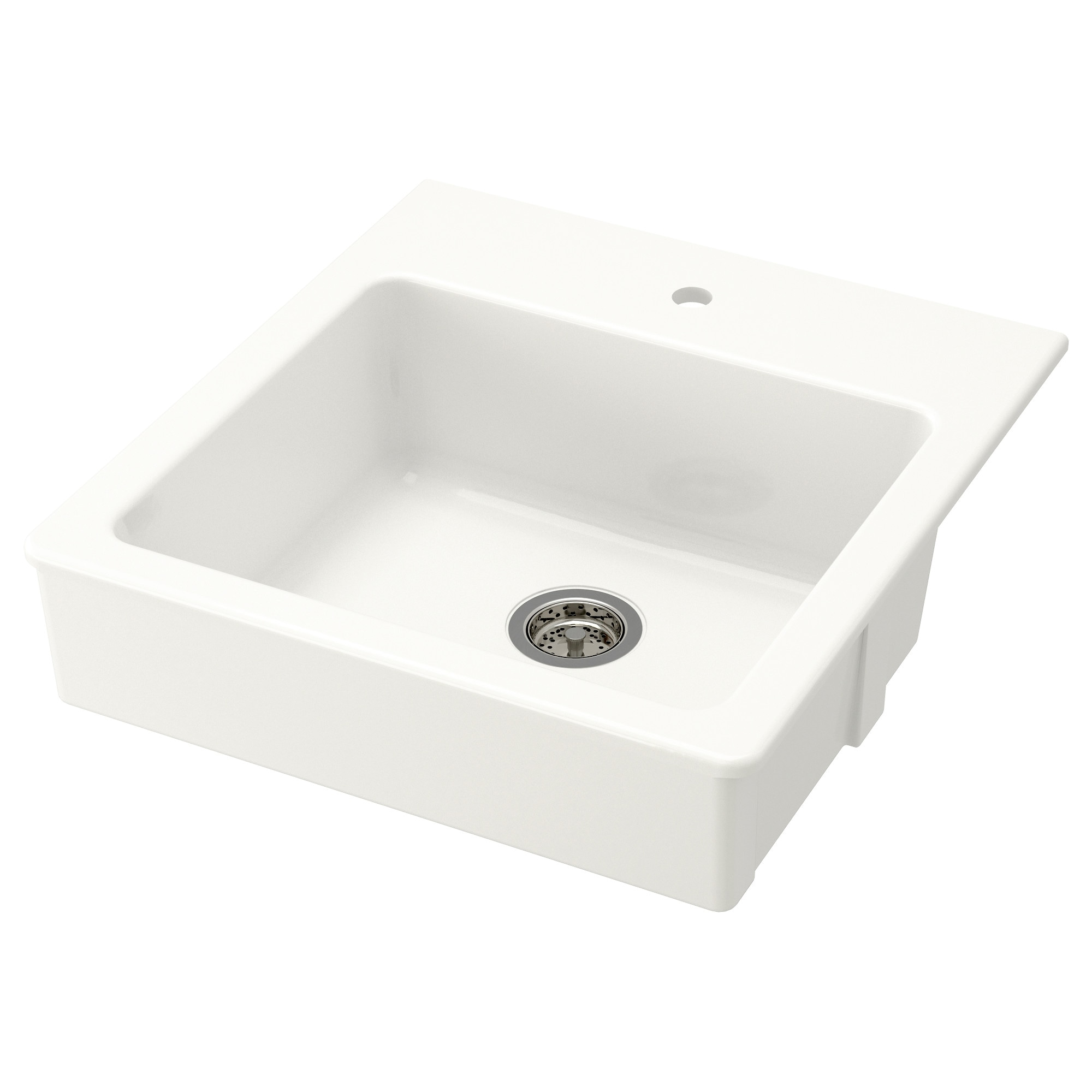 Kitchen cabinets 50cm depth - Domsj Onset Sink 1 Bowl White Bowl Depth 23 Cm Bowl