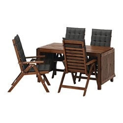 ÄPPLARÖ table + 4 reclining chairs, outdoor, brown stained, Hållö black