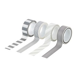 FULLFÖLJA roll of tape, grey black, white Length: 5 m Width: 1.5 cm Package quantity: 4 pack