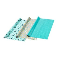 UPPFATTA gift wrap roll, grey, assorted patterns turquoise Length: 3 m Width: 0.7 m Area: 2.10 m²