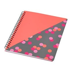UPPFATTA note-book, dotted pink, grey Length: 21 cm Width: 16.5 cm Surface density: 80 g/m²