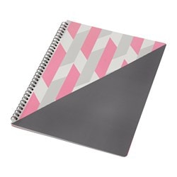 UPPFATTA note-book, pink, grey Length: 30 cm Width: 23 cm Surface density: 80 g/m²