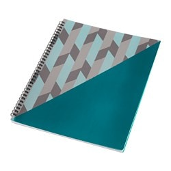 "UPPFATTA notebook, turquoise, gray Length: 12 "" Width: 9 "" Surface density: 0 oz/sq ft Length: 30 cm Width: 23 cm Surface density: 80 g/m²"