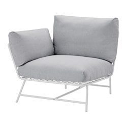 IKEA PS 2017 corner chair with cushions, white, gray