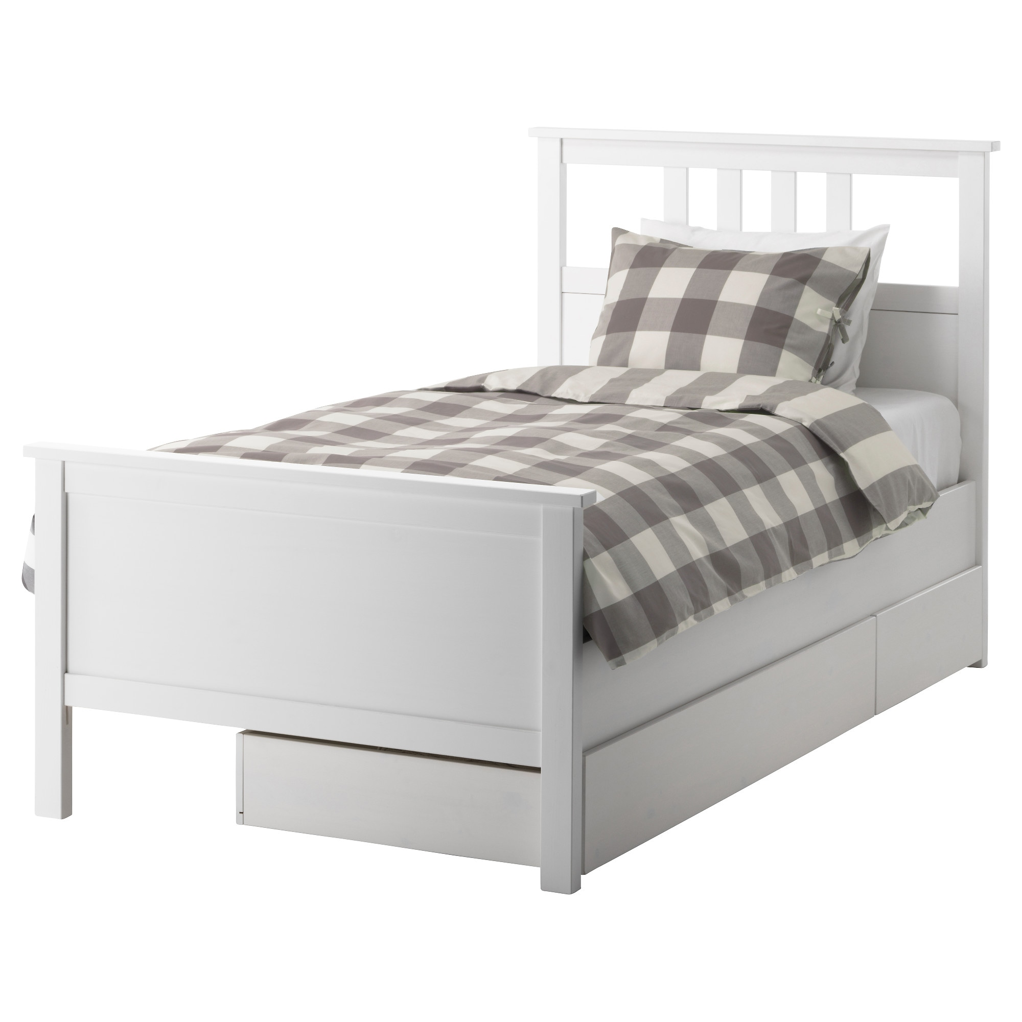 White twin bed with storage - Hemnes Bed Frame With 2 Storage Boxes White Stain Length 79 1 8