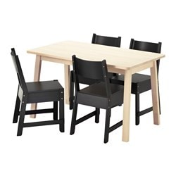 NORRÅKER /  NORRÅKER table and 4 chairs, black, white birch Length: 125 cm Width: 74 cm Height: 74 cm