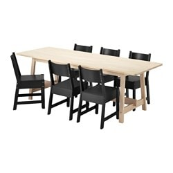 "NORRÅKER /  NORRÅKER table and 6 chairs, white birch, black Length: 86 5/8 "" Width: 31 1/2 "" Height: 29 1/8 "" Length: 220 cm Width: 80 cm Height: 74 cm"