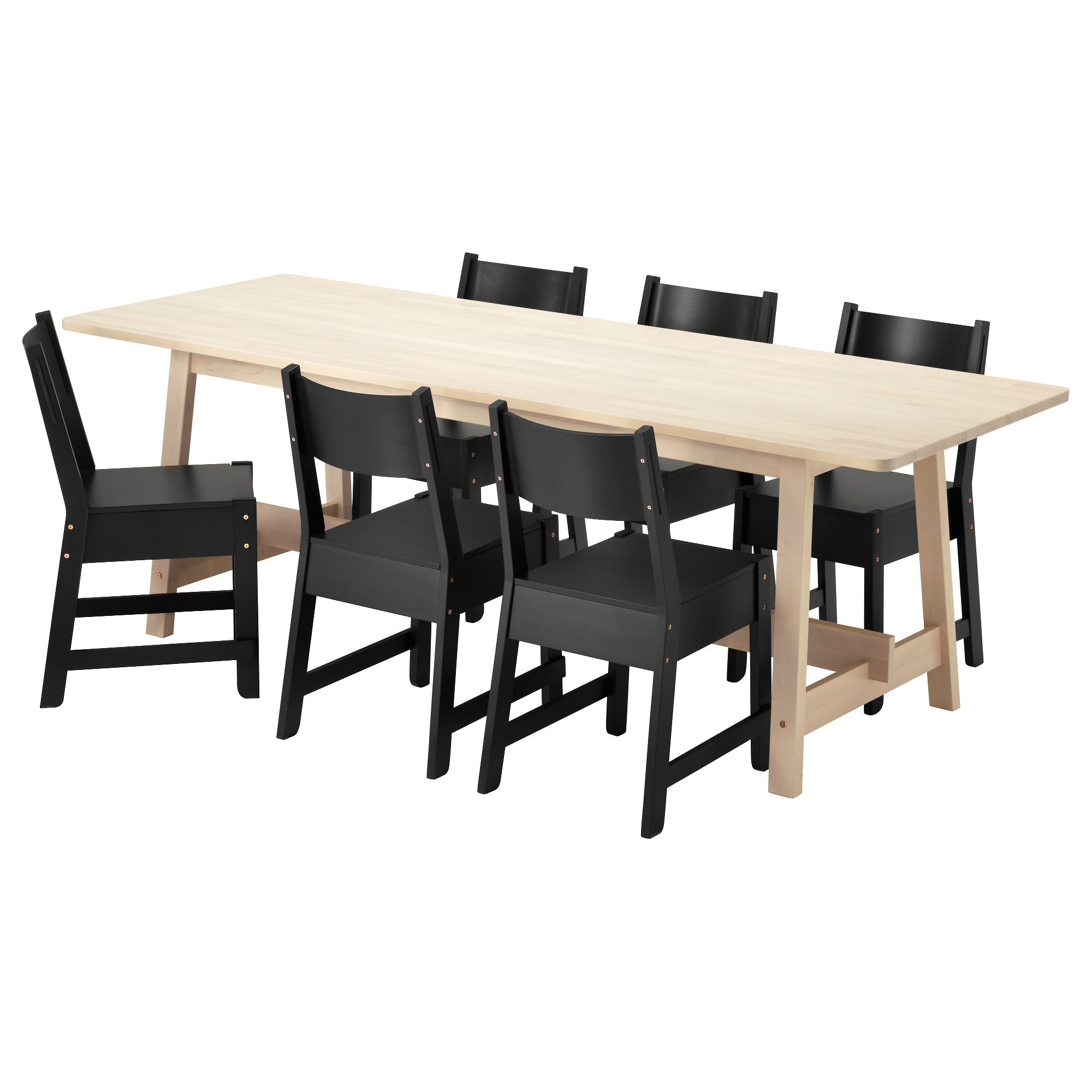 Black and white dining room sets - Norr Ker Norr Ker Table And 6 Chairs White Birch Black Length 86 5