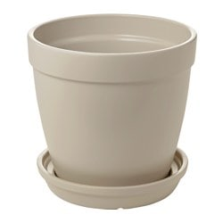HJORTRON plant pot with saucer, beige