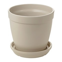 HJORTRON, Plant pot with saucer, beige