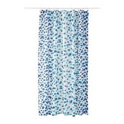SKORREN, Shower curtain, white/blue