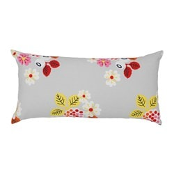 FÖRVANDLA cushion, floral patterned, grey Length: 30 cm Width: 60 cm Filling weight: 280 g