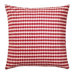 "STOCKHOLM 2017 cushion, red orange, white Length: 20 "" Width: 20 "" Filling weight: 26 oz Length: 50 cm Width: 50 cm Filling weight: 750 g"