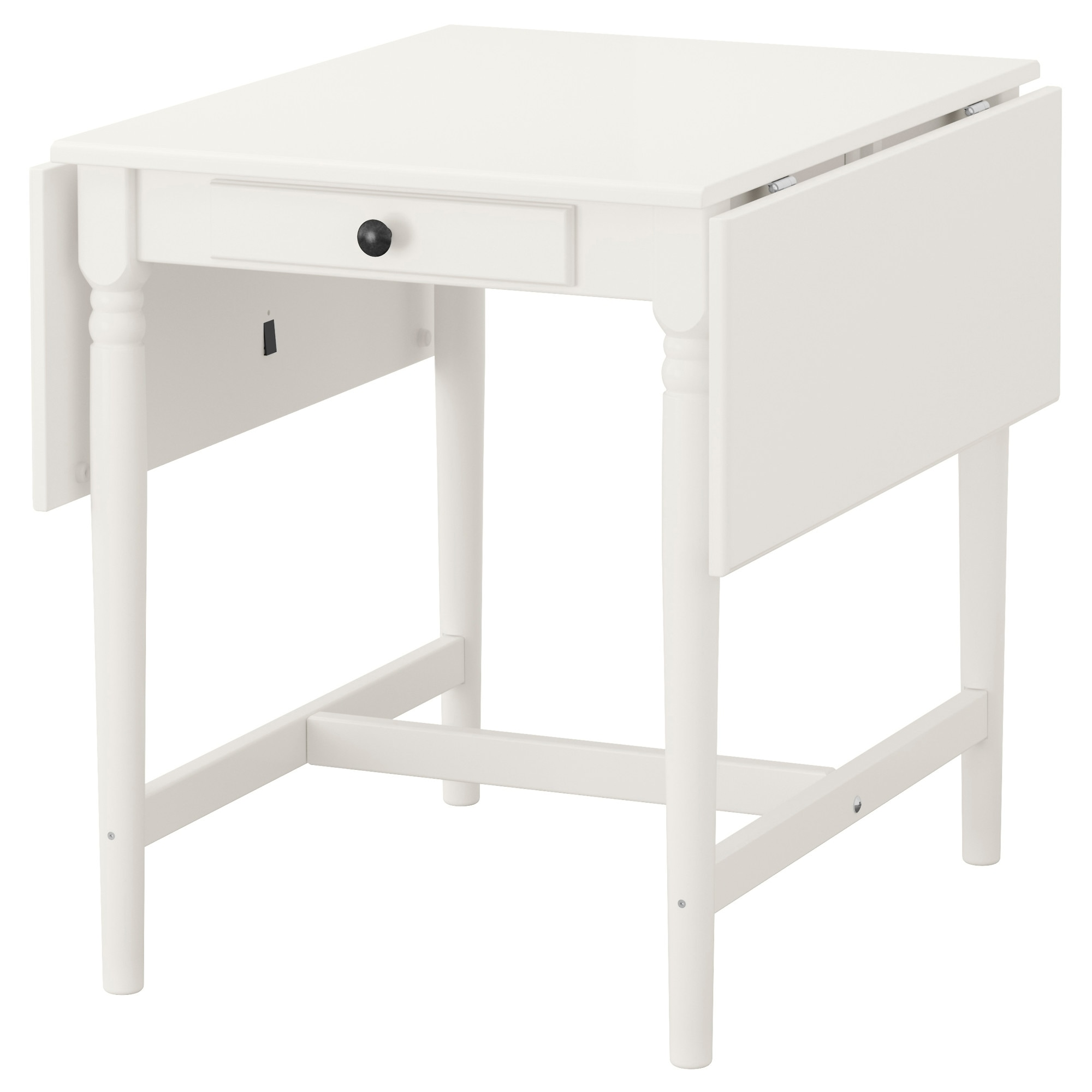 INGATORP drop-leaf table, white Length: 34 5/8