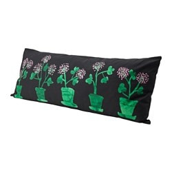 SÄLLSKAP back cushion, black, green Length: 120 cm Width: 45 cm Filling weight: 900 g