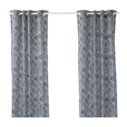 NUNNERÖRT curtains, 1 pair, blue/white