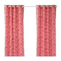 NUNNERÖRT curtains, 1 pair, red/white Length: 250 cm Width: 145 cm Weight: 2.30 kg
