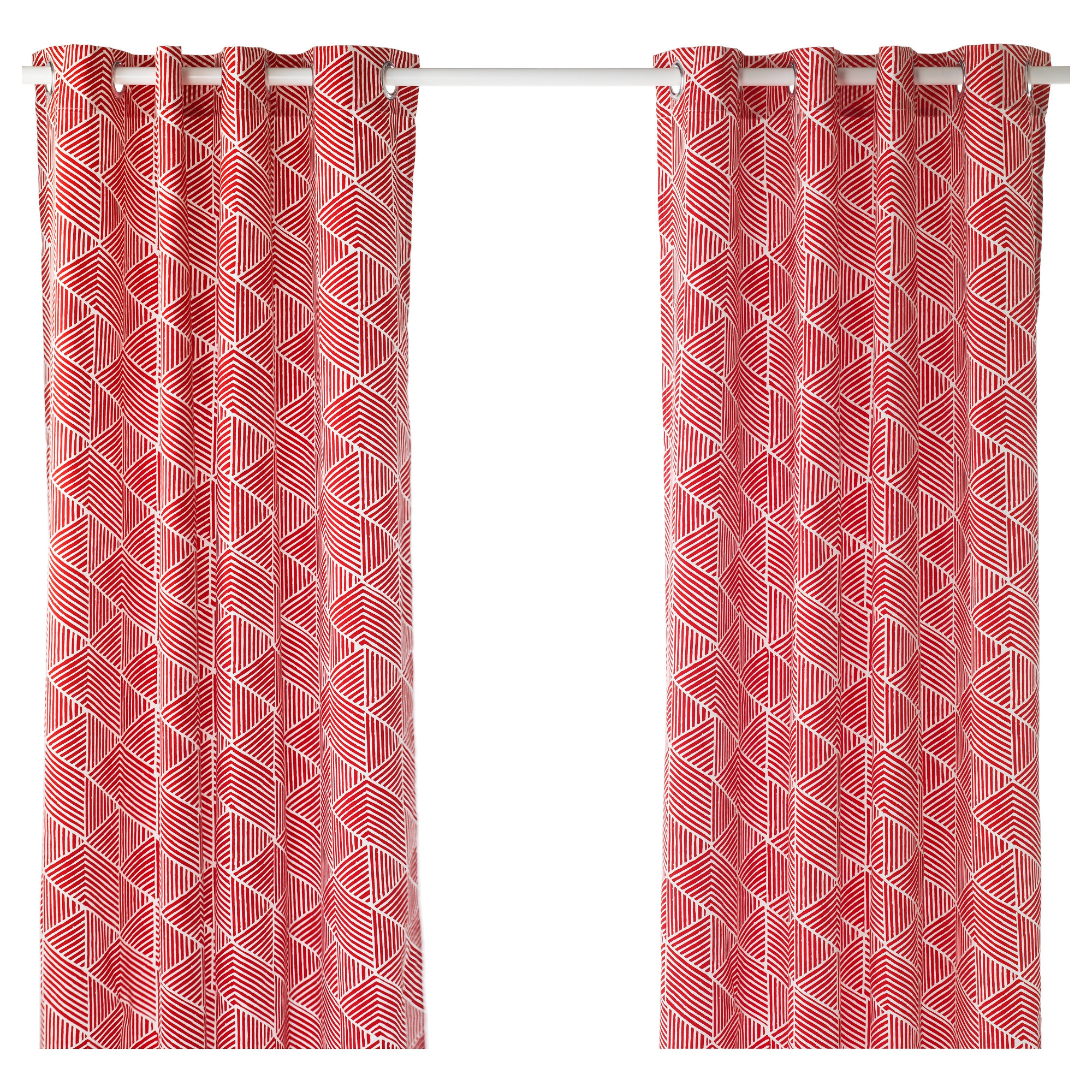 Yellow patterned curtains - Nunner Rt Curtains 1 Pair Red White Length 98 Width 57