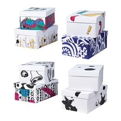 "SPRIDD box with lid, assorted patterns Width: 11 "" Depth: 17 "" Height: 7 "" Width: 28 cm Depth: 43 cm Height: 18 cm"