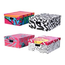 "SPRIDD box with lid, assorted patterns Width: 17 "" Depth: 21 ¼ "" Height: 8 ¼ "" Width: 43 cm Depth: 54 cm Height: 21 cm"