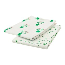 SÄLLSKAP tea towel, white/green Length: 70 cm Width: 50 cm Package quantity: 2 pack